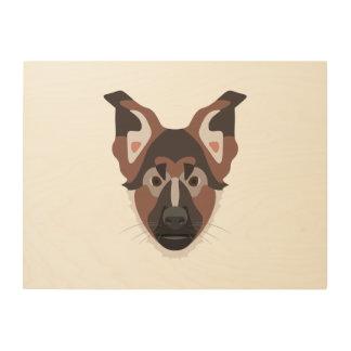 Illustration verfolgt Gesicht Schäferhund Holzdruck