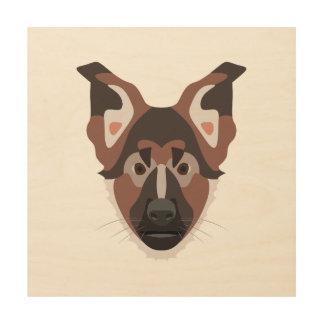 Illustration verfolgt Gesicht Schäferhund Holzleinwand