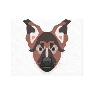 Illustration verfolgt Gesicht Schäferhund Leinwanddruck
