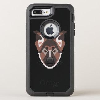 Illustration verfolgt Gesicht Schäferhund OtterBox Defender iPhone 8 Plus/7 Plus Hülle