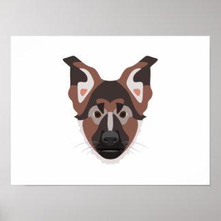 Illustration verfolgt Gesicht Schäferhund Poster