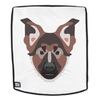 Illustration verfolgt Gesicht Schäferhund Rucksack