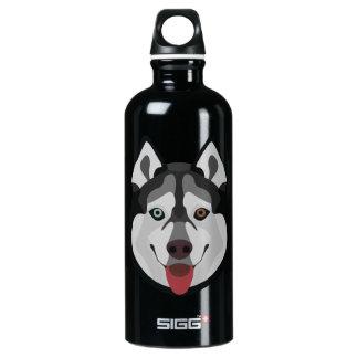 Illustration verfolgt Gesicht sibirischen Husky Aluminiumwasserflasche