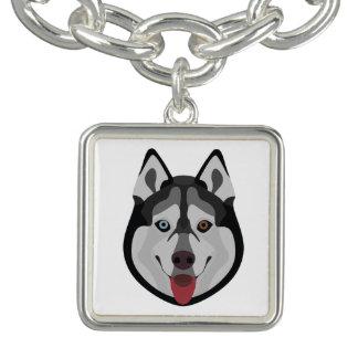 Illustration verfolgt Gesicht sibirischen Husky Armbänder
