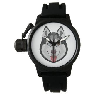 Illustration verfolgt Gesicht sibirischen Husky Armbanduhr