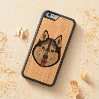 Illustration verfolgt Gesicht sibirischen Husky Bumper iPhone 6 Hülle Kirsche