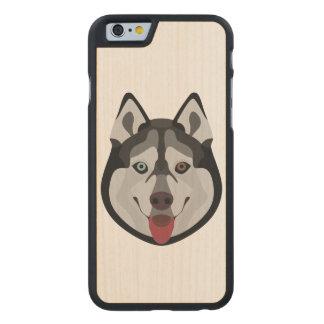 Illustration verfolgt Gesicht sibirischen Husky Carved® iPhone 6 Hülle Ahorn