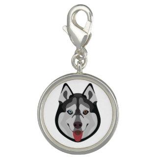 Illustration verfolgt Gesicht sibirischen Husky Charm