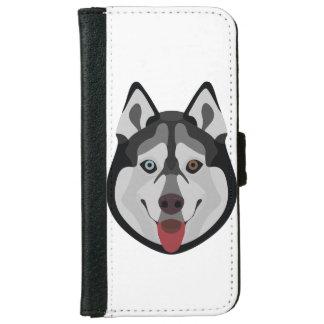 Illustration verfolgt Gesicht sibirischen Husky Geldbeutel Hülle Für Das iPhone 6/6s