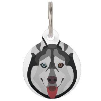 Illustration verfolgt Gesicht sibirischen Husky Haustiermarke