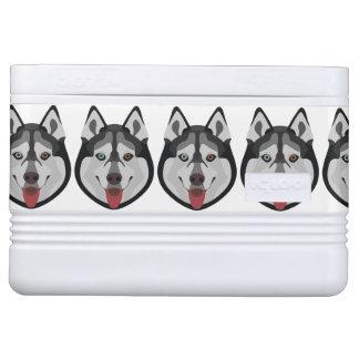 Illustration verfolgt Gesicht sibirischen Husky Igloo Kühlbox