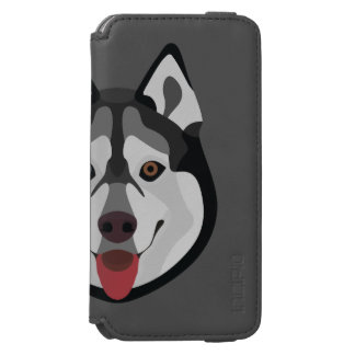 Illustration verfolgt Gesicht sibirischen Husky Incipio Watson™ iPhone 6 Geldbörsen Hülle