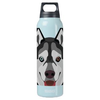 Illustration verfolgt Gesicht sibirischen Husky Isolierte Flasche
