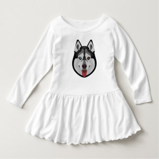 Illustration verfolgt Gesicht sibirischen Husky Kleid
