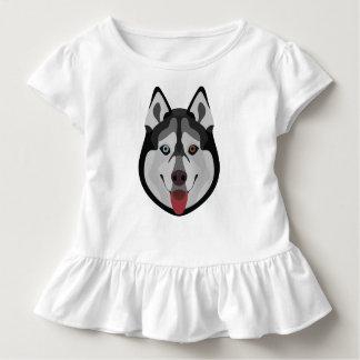 Illustration verfolgt Gesicht sibirischen Husky Kleinkind T-shirt