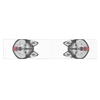 Illustration verfolgt Gesicht sibirischen Husky Kurzer Tischläufer