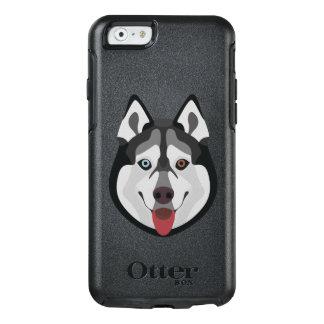 Illustration verfolgt Gesicht sibirischen Husky OtterBox iPhone 6/6s Hülle