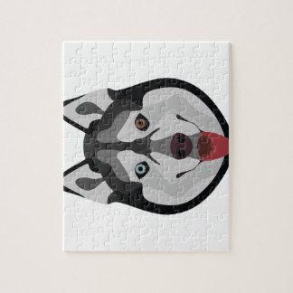 Illustration verfolgt Gesicht sibirischen Husky Puzzle