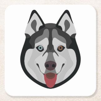 Illustration verfolgt Gesicht sibirischen Husky Rechteckiger Pappuntersetzer