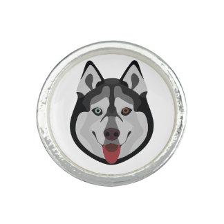 Illustration verfolgt Gesicht sibirischen Husky Ring