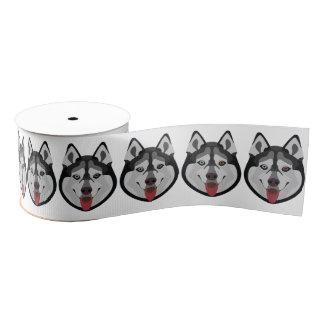 Illustration verfolgt Gesicht sibirischen Husky Ripsband