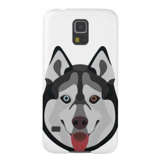 Illustration verfolgt Gesicht sibirischen Husky Samsung S5 Cover