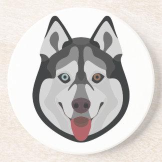 Illustration verfolgt Gesicht sibirischen Husky Sandstein Untersetzer
