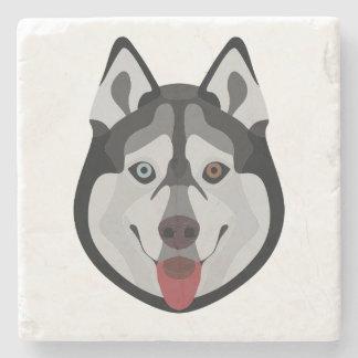 Illustration verfolgt Gesicht sibirischen Husky Steinuntersetzer