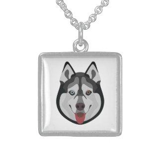 Illustration verfolgt Gesicht sibirischen Husky Sterling Silberkette