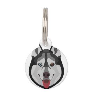 Illustration verfolgt Gesicht sibirischen Husky Tiermarke