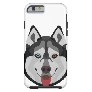Illustration verfolgt Gesicht sibirischen Husky Tough iPhone 6 Hülle