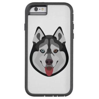 Illustration verfolgt Gesicht sibirischen Husky Tough Xtreme iPhone 6 Hülle