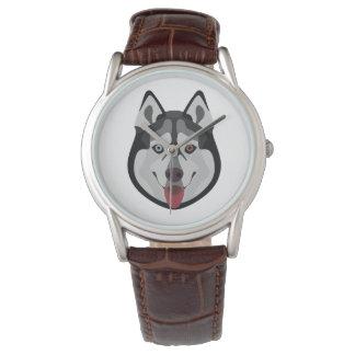 Illustration verfolgt Gesicht sibirischen Husky Uhr