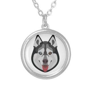 Illustration verfolgt Gesicht sibirischen Husky Versilberte Kette