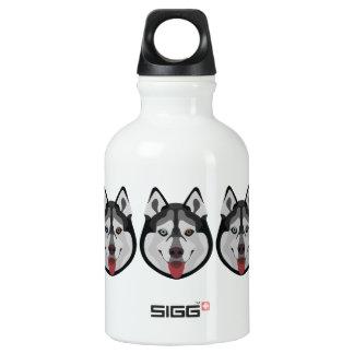Illustration verfolgt Gesicht sibirischen Husky Wasserflasche