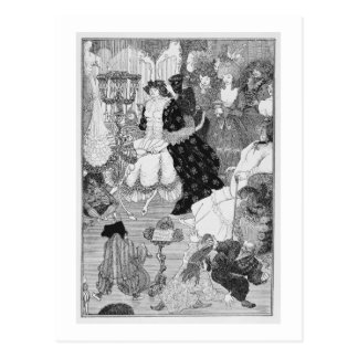 Illustration, vermutlich vom Kampf des Galans Postkarte
