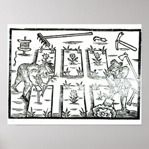 Illustration von einem Buch auf der Gartenarbeit Plakat