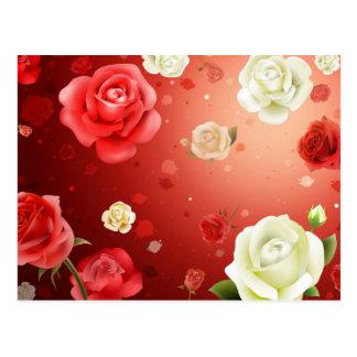 Illustration von Weiß und von Roten Rosen Postkarte
