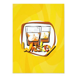 Illustration Wiskey auf Eis 16,5 X 22,2 Cm Einladungskarte