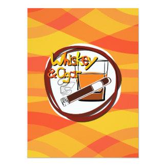 Illustration Wiskey und Zigarre 16,5 X 22,2 Cm Einladungskarte