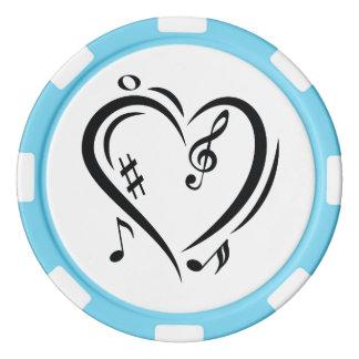 Illustrationclef-Liebe-Musik Poker Chips Set