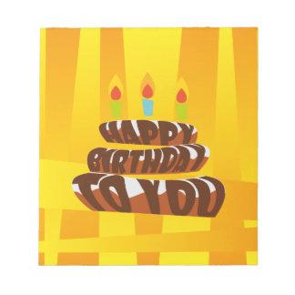 Illustrations-alles- Gute zum Geburtstagkuchen mit Notizblock