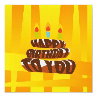 Illustrations-alles- Gute zum Geburtstagkuchen mit Quadratische 13,3 Cm Einladungskarte