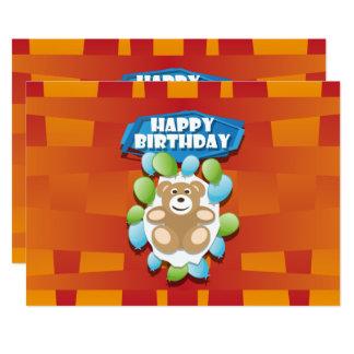 Illustrations-alles- Gute zum GeburtstagTeddybär 12,7 X 17,8 Cm Einladungskarte