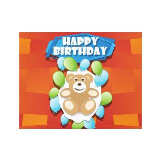 Illustrations-alles- Gute zum GeburtstagTeddybär Leinwanddruck