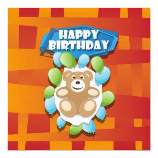 Illustrations-alles- Gute zum GeburtstagTeddybär Quadratische 13,3 Cm Einladungskarte