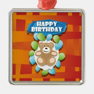Illustrations-alles- Gute zum GeburtstagTeddybär Silbernes Ornament