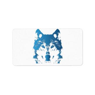 Illustrations-Eis-Blau-Wolf Adressaufkleber