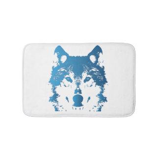 Illustrations-Eis-Blau-Wolf Badematte