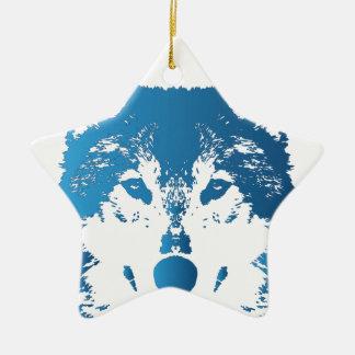 Illustrations-Eis-Blau-Wolf Keramik Ornament